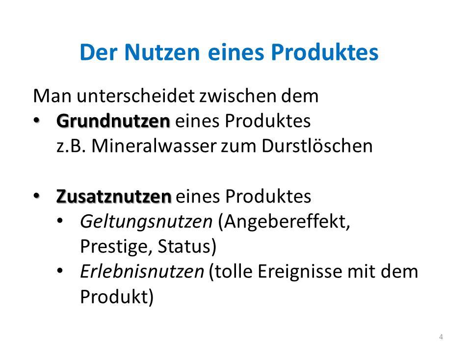 Der Nutzen eines Produktes 4 Man unterscheidet zwischen dem Grundnutzen Grundnutzen eines Produktes z.B. Mineralwasser zum Durstlöschen Zusatznutzen Z