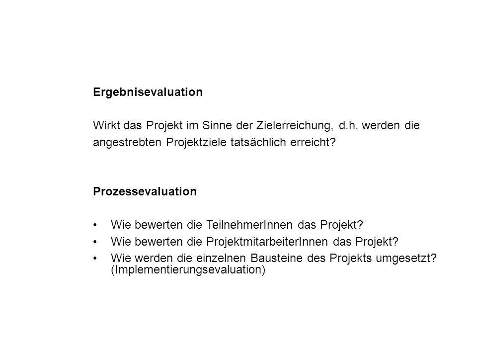 Ergebnisevaluation Wirkt das Projekt im Sinne der Zielerreichung, d.h. werden die angestrebten Projektziele tatsächlich erreicht? Prozessevaluation Wi