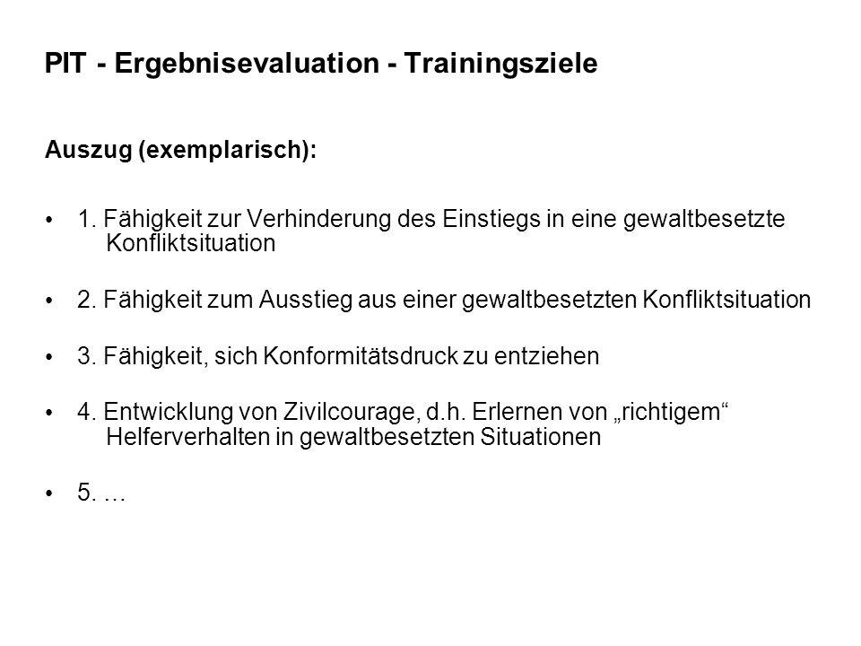 PIT - Ergebnisevaluation - Trainingsziele Auszug (exemplarisch): 1. Fähigkeit zur Verhinderung des Einstiegs in eine gewaltbesetzte Konfliktsituation