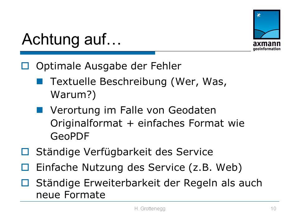 H. Grottenegg10 Achtung auf…  Optimale Ausgabe der Fehler Textuelle Beschreibung (Wer, Was, Warum?) Verortung im Falle von Geodaten Originalformat +