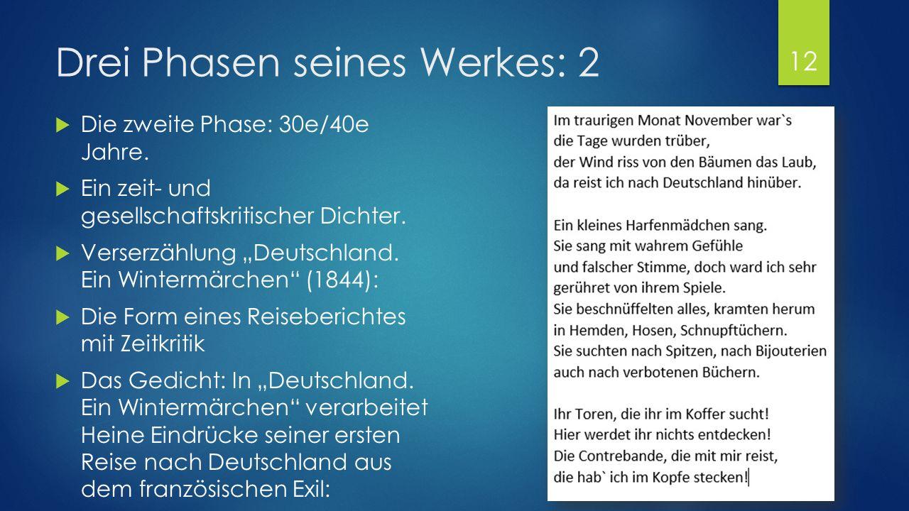 """Drei Phasen seines Werkes: 1  Die erste Phase: Jugend  Ein romantischer und ironischer Dichter  """"Buch der Lieder (1827):  Der volksliedhafte Charakter;  Gedichte wurden von Robert Schumann und Franz Schubert vertont;  Das Thema ist die aussichtslose, unerfüllte Liebe."""