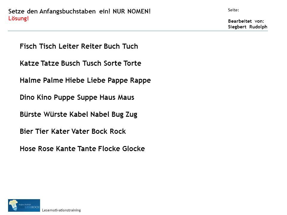 Übungsart: Seite: Bearbeitet von: Siegbert Rudolph Lesemotivationstraining Setze den Anfangsbuchstaben ein.