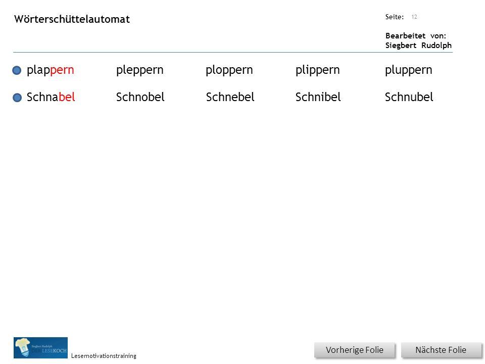 Übungsart: Seite: Bearbeitet von: Siegbert Rudolph Lesemotivationstraining Nächste Folie Vorherige Folie Wörterschüttelautomat 12 plappernpleppernplop