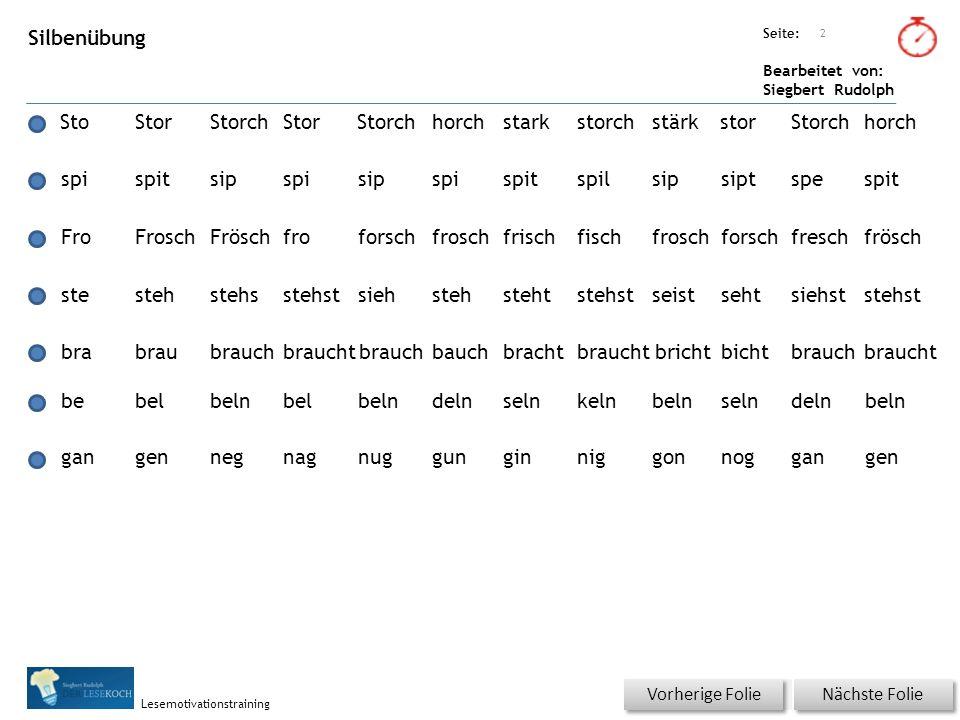Übungsart: Seite: Bearbeitet von: Siegbert Rudolph Lesemotivationstraining Silbenübung StoStorStorchStorStorchhorchstarkstorchstärkstorStorchhorch Näc