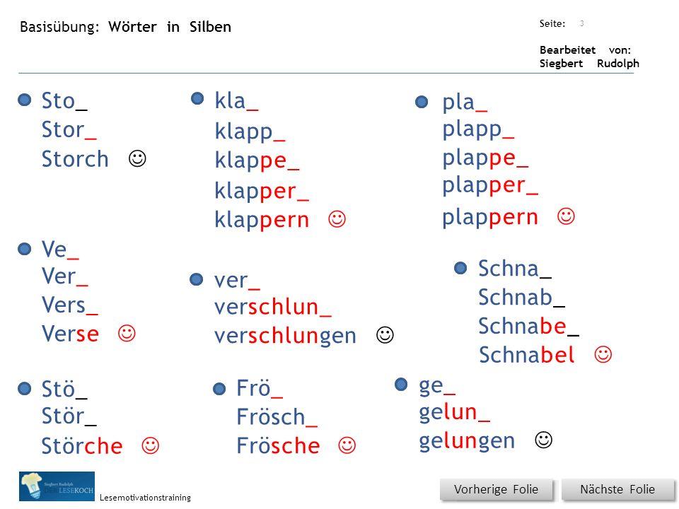 Übungsart: Seite: Bearbeitet von: Siegbert Rudolph Lesemotivationstraining Basisübung: Wörter in Silben Nächste Folie Vorherige Folie Sto_ Stö_ ver_ 3