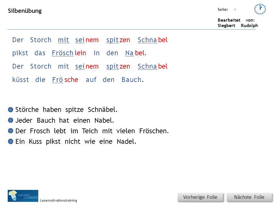 Übungsart: Seite: Bearbeitet von: Siegbert Rudolph Lesemotivationstraining 4 DerStorchmitseinemspitzenSchnabel pikstdasFröschleinindenNabel. DerStorch