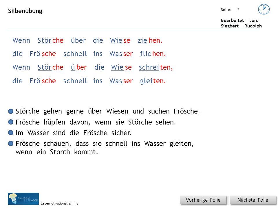 Übungsart: Seite: Bearbeitet von: Siegbert Rudolph Lesemotivationstraining 7 WennStörcheüberdieWieseziehen, dieFröscheschnellinsWasserfliehen.