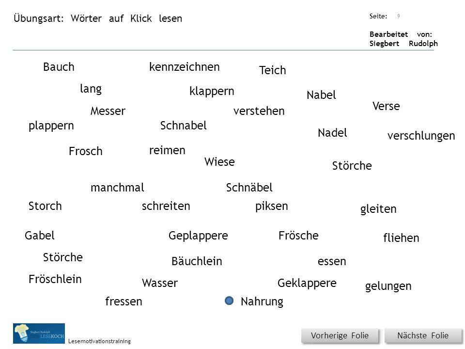 Übungsart: Seite: Bearbeitet von: Siegbert Rudolph Lesemotivationstraining Wörter auf Klick lesen Nächste Folie Vorherige Folie Bauchkennzeichnen Teic