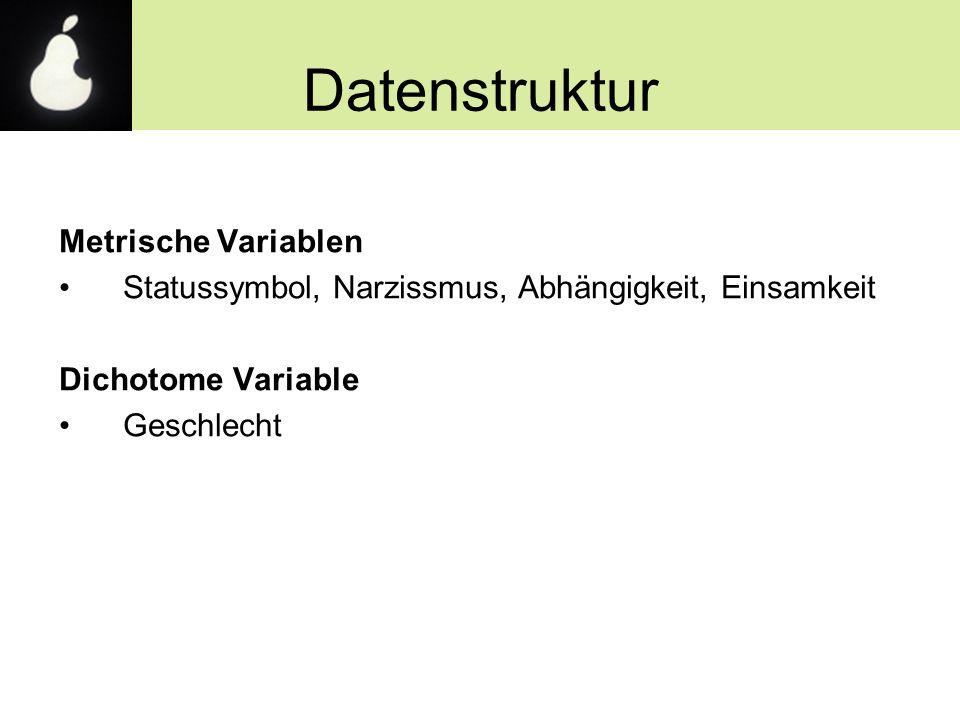 Datenstruktur Metrische Variablen Statussymbol, Narzissmus, Abhängigkeit, Einsamkeit Dichotome Variable Geschlecht
