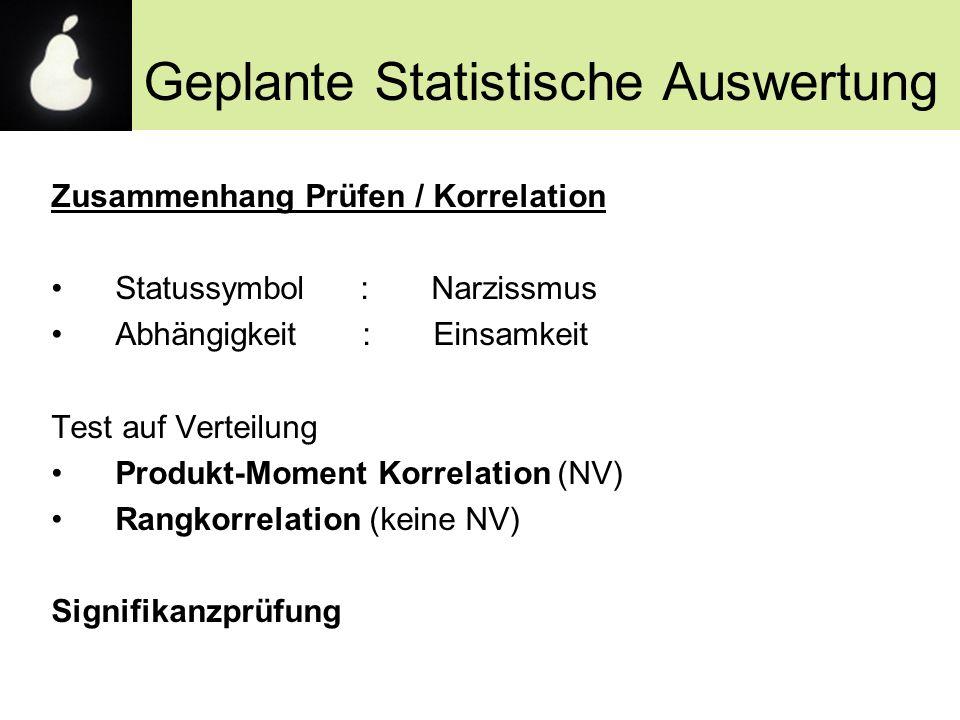 Geplante Statistische Auswertung Zusammenhang Prüfen / Korrelation Statussymbol : Narzissmus Abhängigkeit : Einsamkeit Test auf Verteilung Produkt-Mom