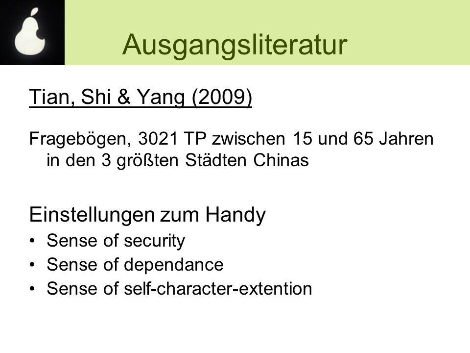 Ausgangsliteratur Tian, Shi & Yang (2009) Fragebögen, 3021 TP zwischen 15 und 65 Jahren in den 3 größten Städten Chinas Einstellungen zum Handy Sense