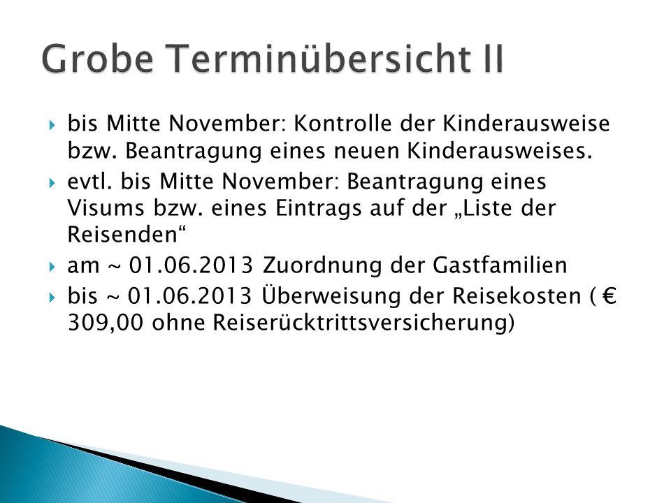  bis Mitte November: Kontrolle der Kinderausweise bzw.