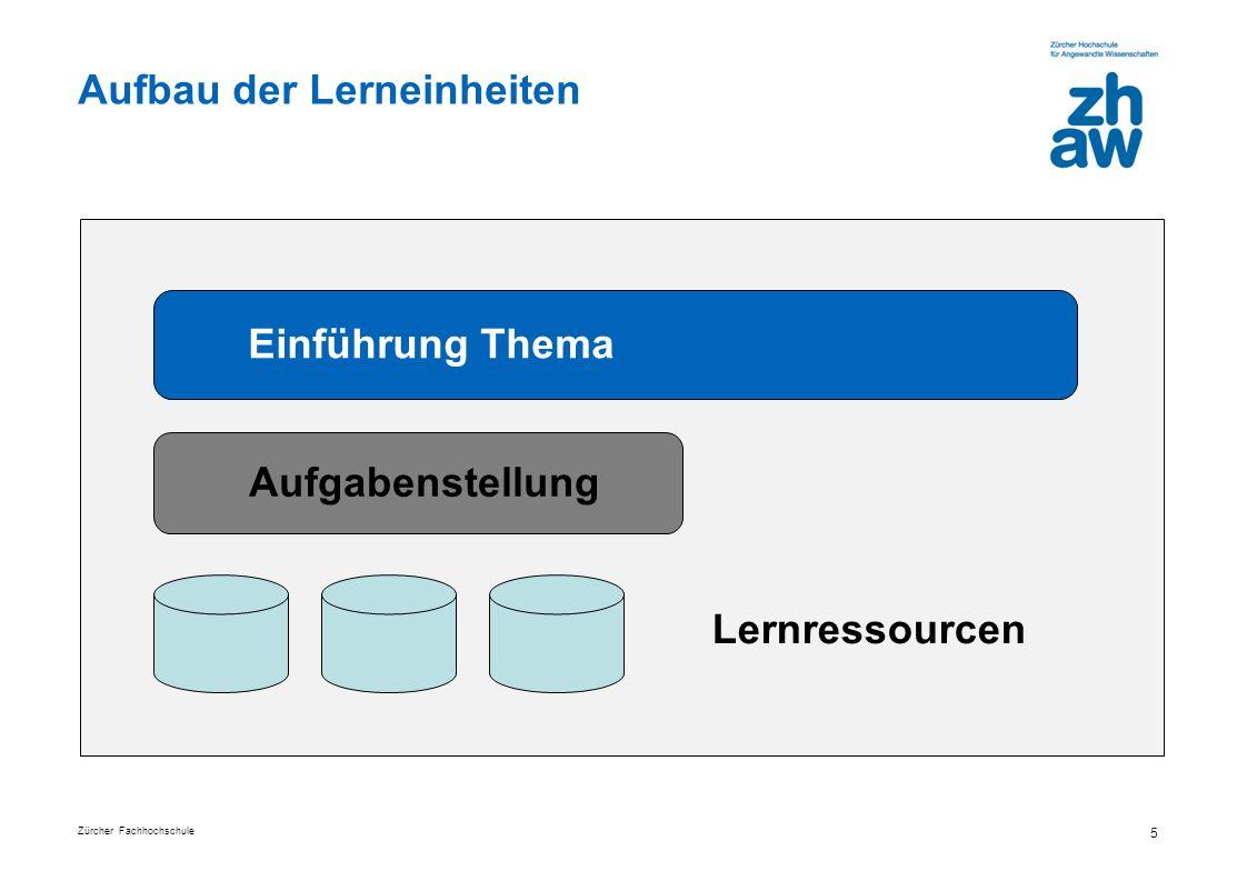 Zürcher Fachhochschule 5 Aufbau der Lerneinheiten Einführung Thema Aufgabenstellung Lernressourcen