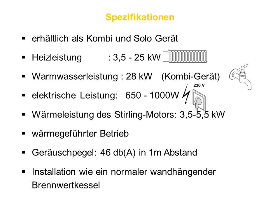  erhältlich als Kombi und Solo Gerät  Heizleistung : 3,5 - 25 kW  Warmwasserleistung : 28 kW(Kombi-Gerät)  elektrische Leistung: 650 - 1000W  Wärmeleistung des Stirling-Motors: 3,5-5,5 kW  wärmegeführter Betrieb  Geräuschpegel: 46 db(A) in 1m Abstand  Installation wie ein normaler wandhängender Brennwertkessel Spezifikationen
