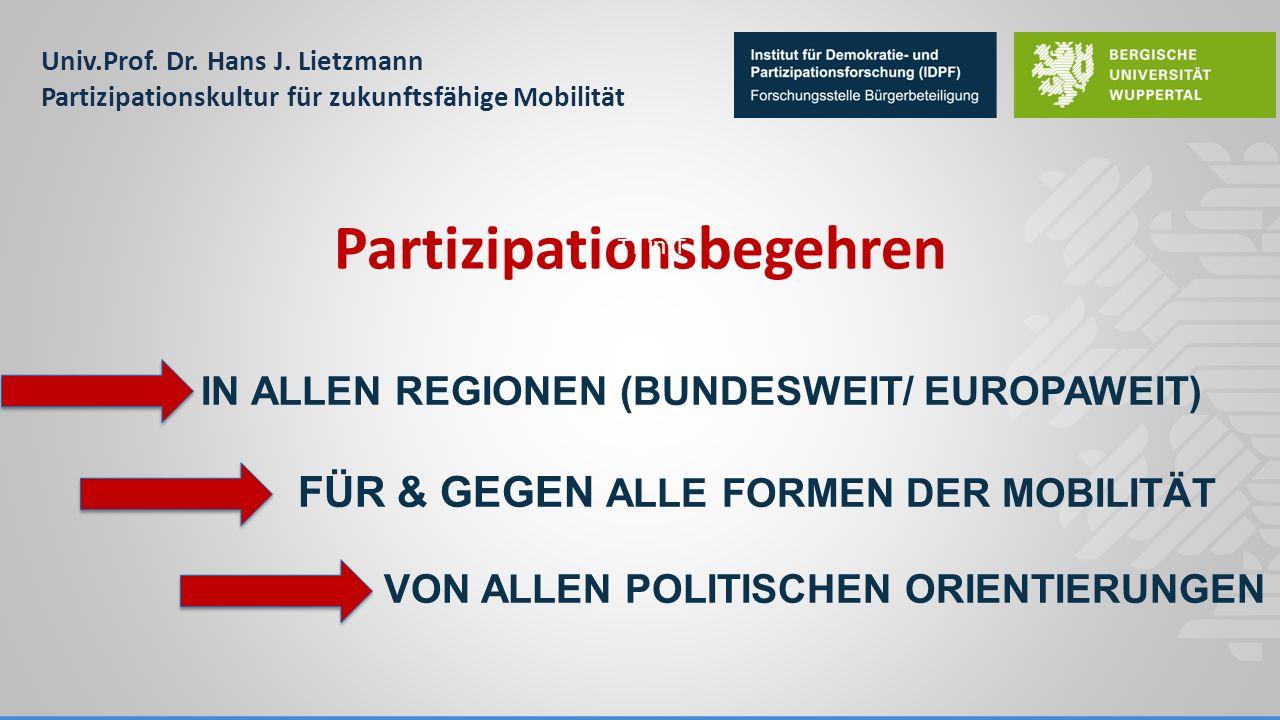 Univ.Prof. Dr. Hans J. Lietzmann Partizipationskultur für zukunftsfähige Mobilität IN ALLEN REGIONEN (BUNDESWEIT/ EUROPAWEIT) FÜR & GEGEN ALLE FORMEN