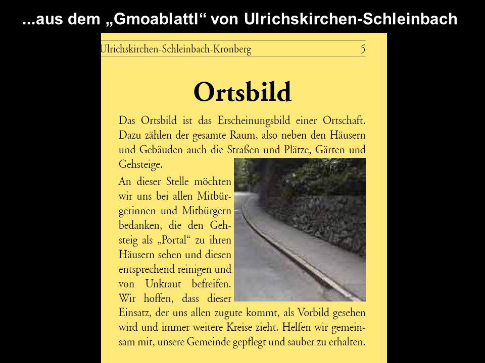 """...aus dem """"Gmoablattl von Ulrichskirchen-Schleinbach"""