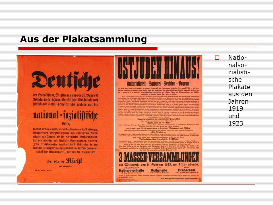 Aus der Plakatsammlung  Natio- nalso- zialisti- sche Plakate aus den Jahren 1919 und 1923