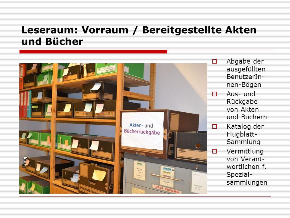 Leseraum: Vorraum / Bereitgestellte Akten und Bücher  Abgabe der ausgefüllten BenutzerIn- nen-Bögen  Aus- und Rückgabe von Akten und Büchern  Katal