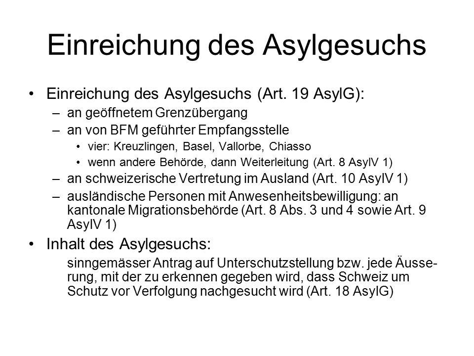 Einreichung des Asylgesuchs Einreichung des Asylgesuchs (Art.