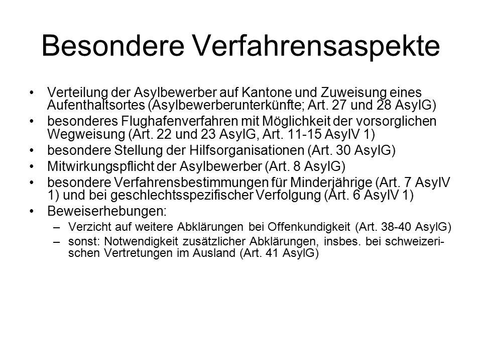 Besondere Verfahrensaspekte Verteilung der Asylbewerber auf Kantone und Zuweisung eines Aufenthaltsortes (Asylbewerberunterkünfte; Art.
