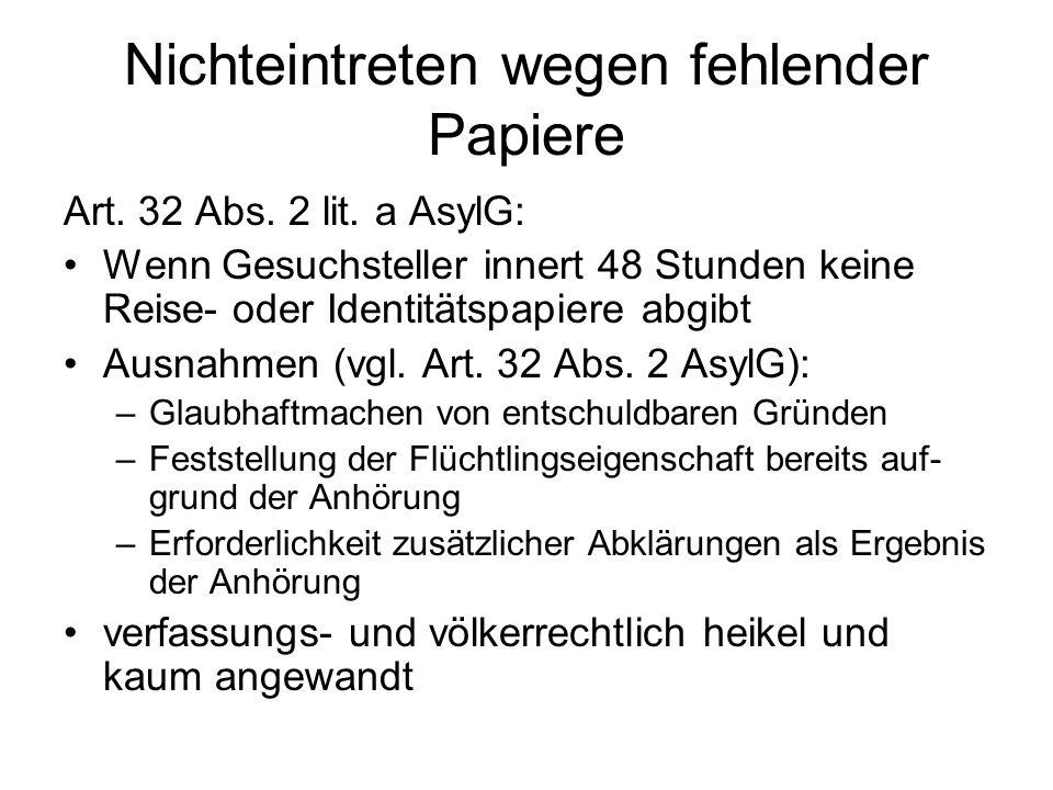 Nichteintreten wegen fehlender Papiere Art. 32 Abs.