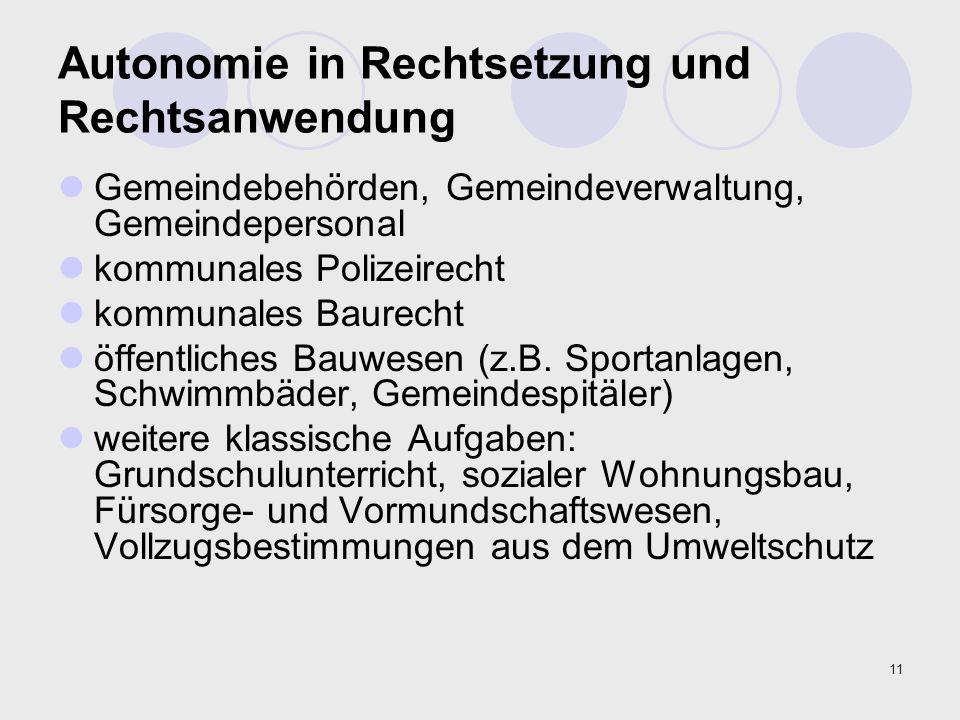 11 Autonomie in Rechtsetzung und Rechtsanwendung Gemeindebehörden, Gemeindeverwaltung, Gemeindepersonal kommunales Polizeirecht kommunales Baurecht öf