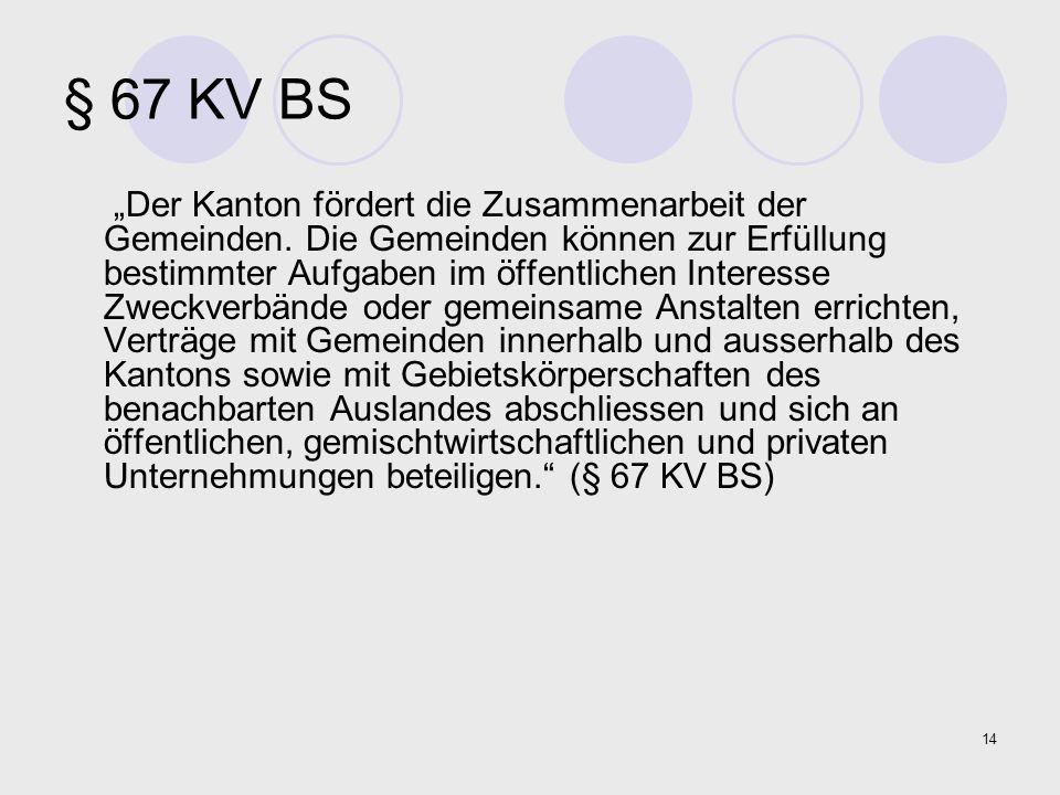 """14 § 67 KV BS """"Der Kanton fördert die Zusammenarbeit der Gemeinden. Die Gemeinden können zur Erfüllung bestimmter Aufgaben im öffentlichen Interesse Z"""