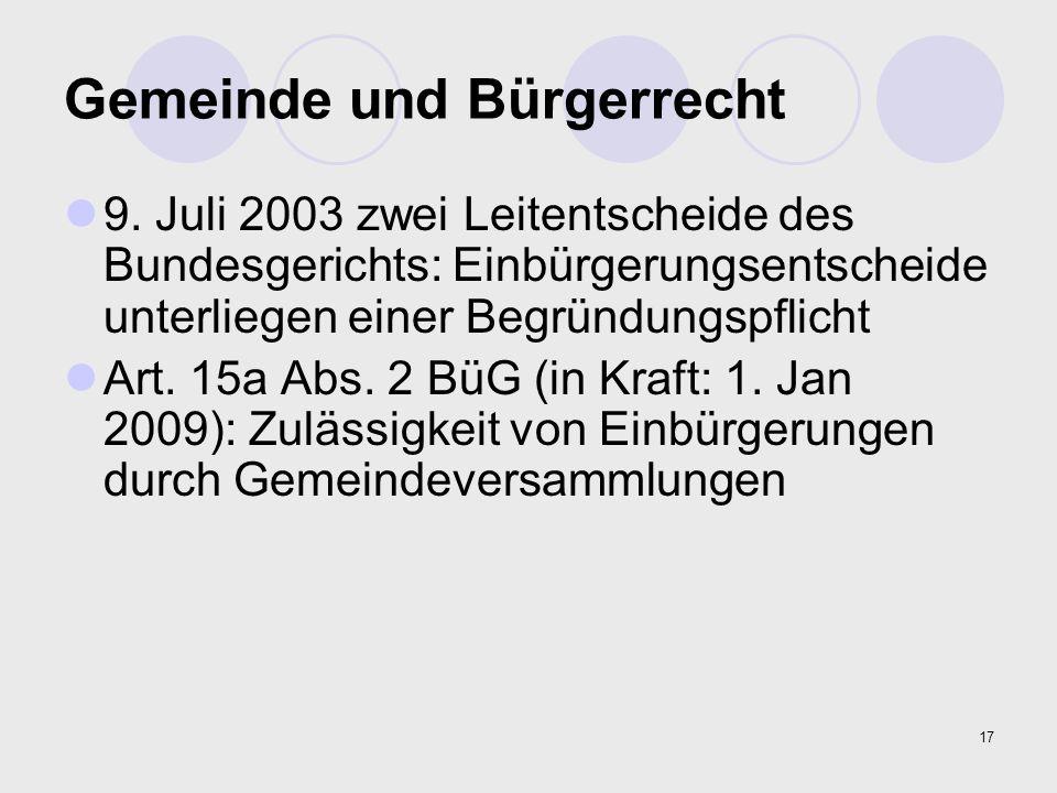 17 Gemeinde und Bürgerrecht 9. Juli 2003 zwei Leitentscheide des Bundesgerichts: Einbürgerungsentscheide unterliegen einer Begründungspflicht Art. 15a