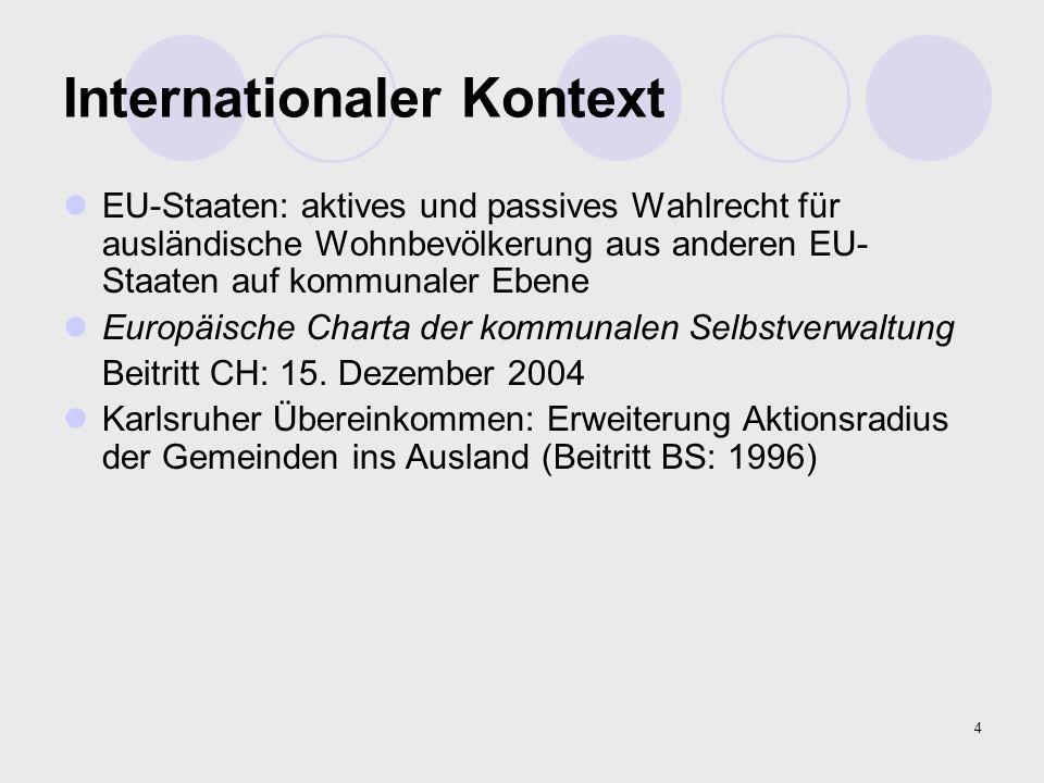 4 Internationaler Kontext EU-Staaten: aktives und passives Wahlrecht für ausländische Wohnbevölkerung aus anderen EU- Staaten auf kommunaler Ebene Eur