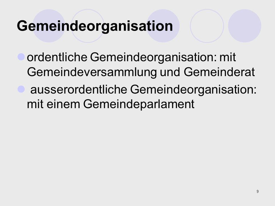 9 Gemeindeorganisation ordentliche Gemeindeorganisation: mit Gemeindeversammlung und Gemeinderat ausserordentliche Gemeindeorganisation: mit einem Gem
