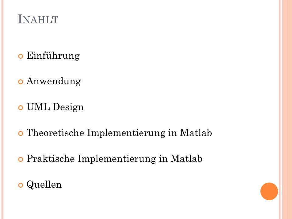 I NAHLT Einführung Anwendung UML Design Theoretische Implementierung in Matlab Praktische Implementierung in Matlab Quellen