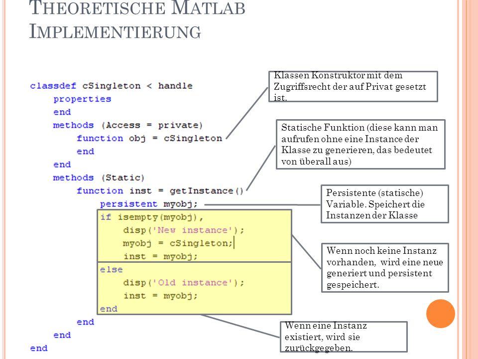 T HEORETISCHE M ATLAB I MPLEMENTIERUNG Klassen Konstruktor mit dem Zugriffsrecht der auf Privat gesetzt ist.