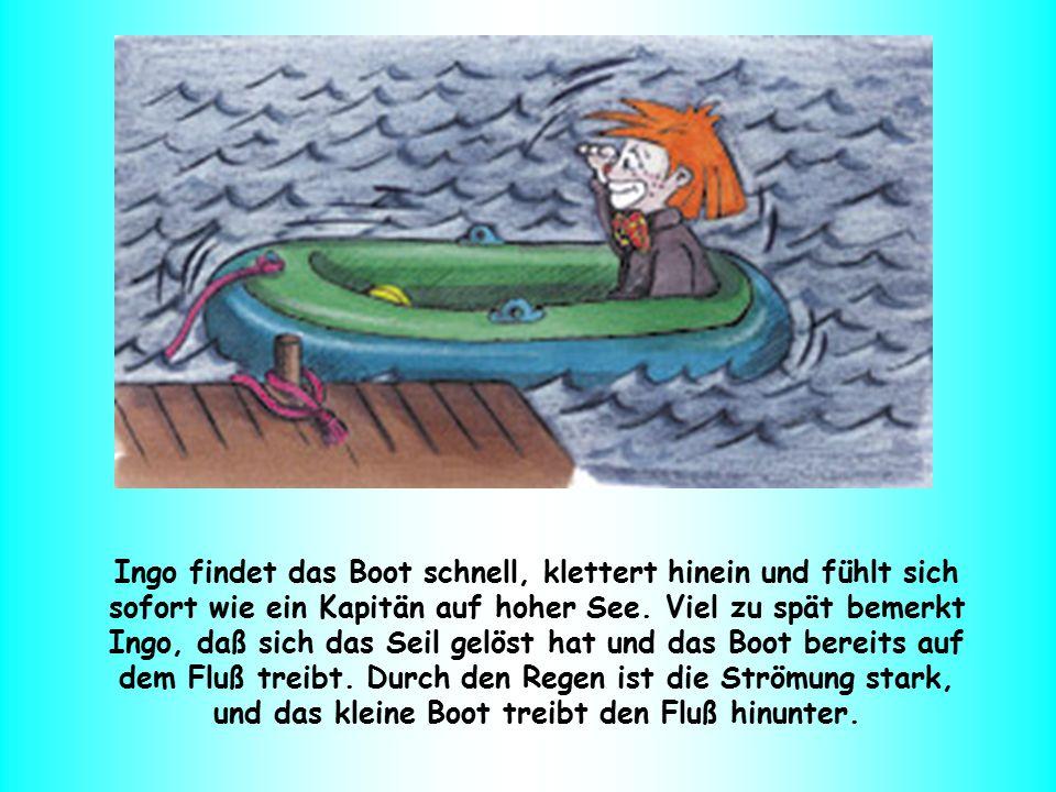 Ingo bekommt Angst und schreit laut um Hilfe.Aber er ist ganz allein auf dem wilden Wasser.