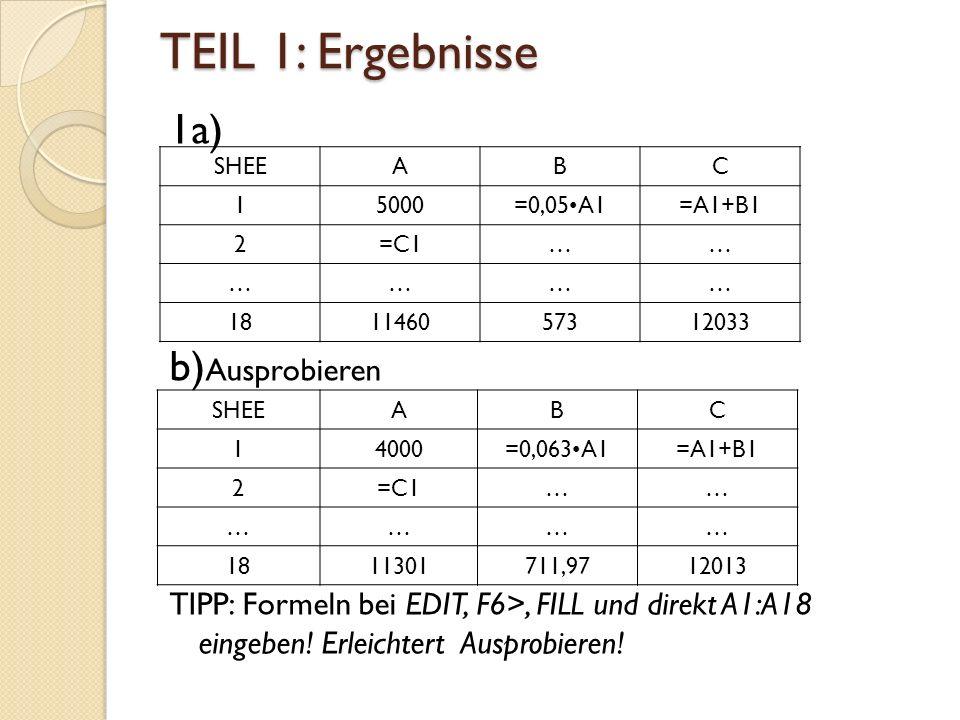 TEIL 1: Ergebnisse 1a) b) Ausprobieren TIPP: Formeln bei EDIT, F6>, FILL und direkt A1:A18 eingeben.