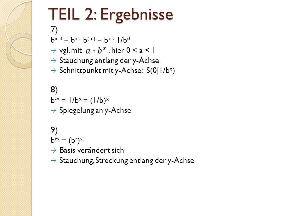 TEIL 2: Ergebnisse 7) b x-d = b x ∙ b (-d) = b x ∙ 1/b d  vgl.