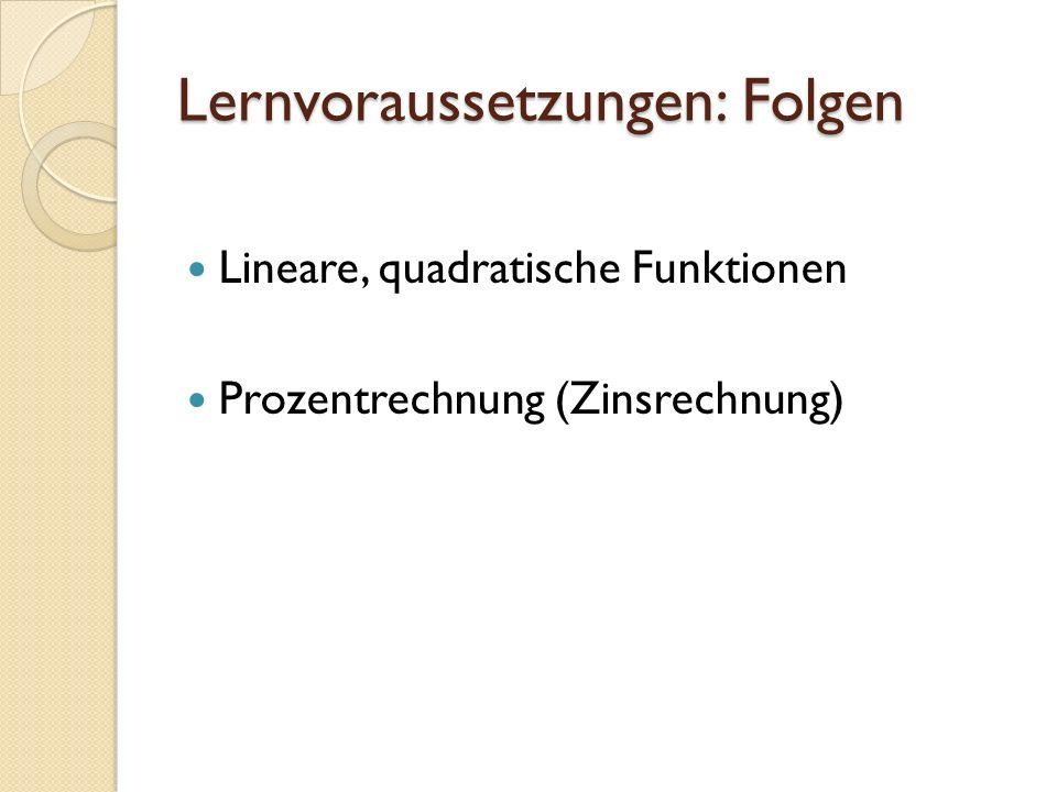 Lernvoraussetzungen: Folgen Lineare, quadratische Funktionen Prozentrechnung (Zinsrechnung)