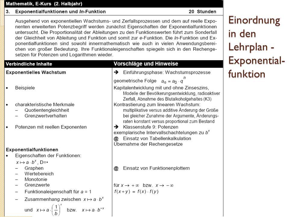 Einordnung in den Lehrplan - Exponential- funktion