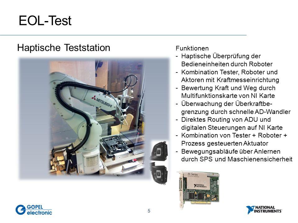 5 EOL-Test Haptische Teststation Funktionen -Haptische Überprüfung der Bedieneinheiten durch Roboter -Kombination Tester, Roboter und Aktoren mit Kraf