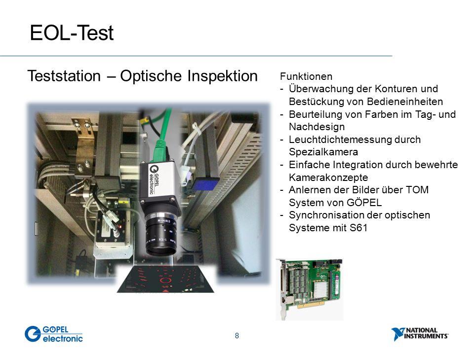 8 EOL-Test Teststation – Optische Inspektion Funktionen -Überwachung der Konturen und Bestückung von Bedieneinheiten -Beurteilung von Farben im Tag- und Nachdesign -Leuchtdichtemessung durch Spezialkamera -Einfache Integration durch bewehrte Kamerakonzepte -Anlernen der Bilder über TOM System von GÖPEL -Synchronisation der optischen Systeme mit S61