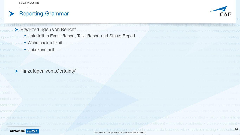 """CAE Elektronik Proprietary Information and/or Confidential Reporting-Grammar Erweiterungen von Bericht  Unterteilt in Event-Report, Task-Report und Status-Report  Wahrscheinlichkeit  Unbekanntheit Hinzufügen von """"Certainty GRAMMATIK 14"""