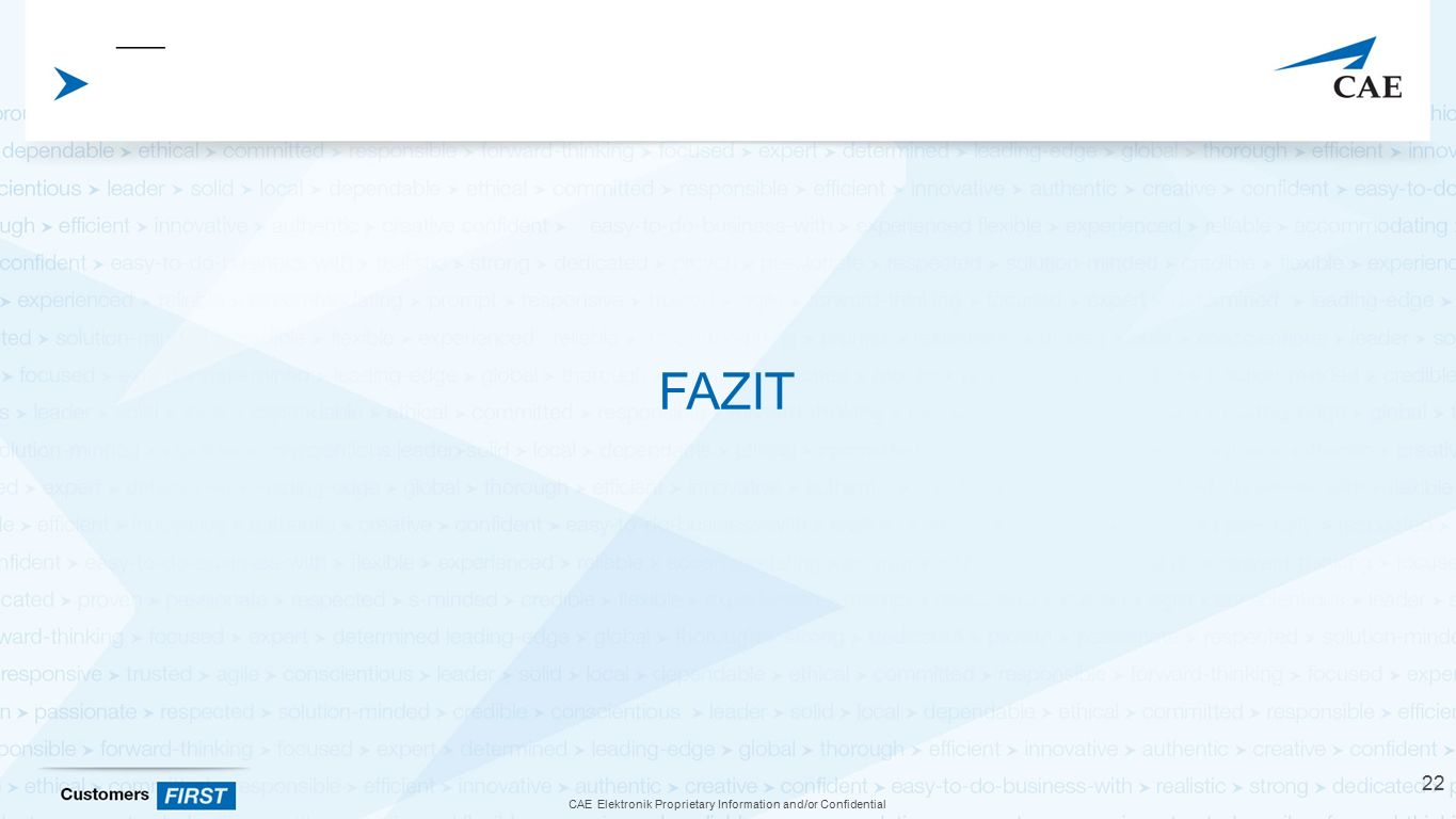 CAE Elektronik Proprietary Information and/or Confidential FAZIT 22