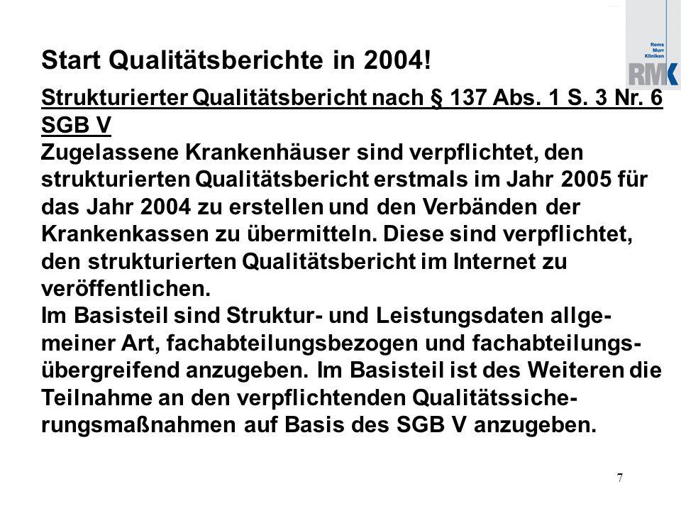 7 Start Qualitätsberichte in 2004. Strukturierter Qualitätsbericht nach § 137 Abs.