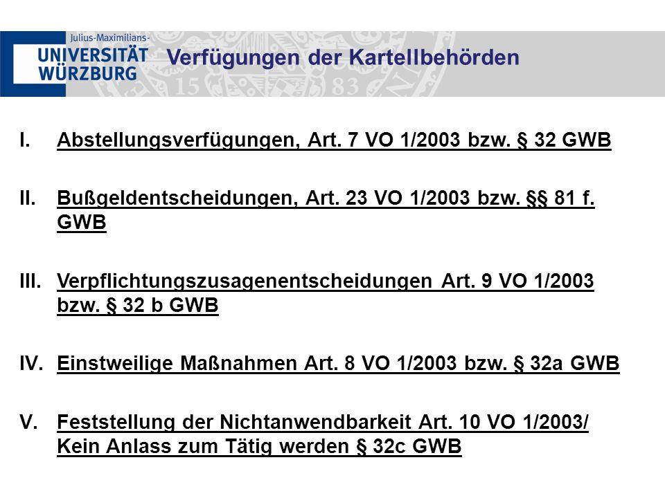 I.Abstellungsverfügungen, Art. 7 VO 1/2003 bzw. § 32 GWB II.Bußgeldentscheidungen, Art.