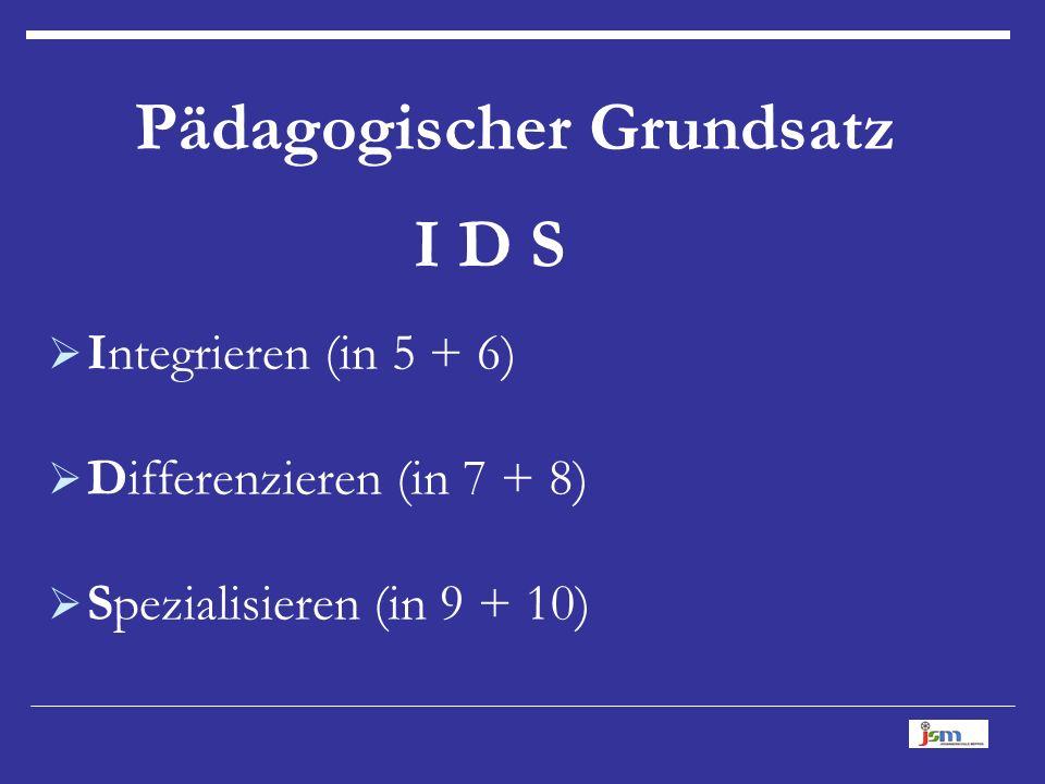 Pädagogischer Grundsatz I D S  Integrieren (in 5 + 6)  Differenzieren (in 7 + 8)  Spezialisieren (in 9 + 10)