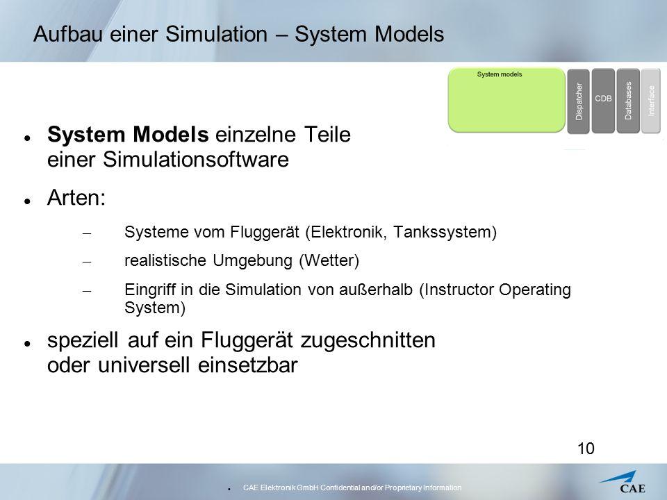 CAE Elektronik GmbH Confidential and/or Proprietary Information 10 Aufbau einer Simulation – System Models System Models einzelne Teile einer Simulati