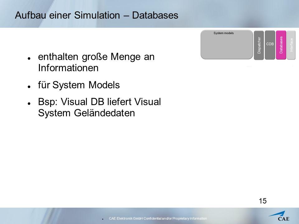 CAE Elektronik GmbH Confidential and/or Proprietary Information 15 Aufbau einer Simulation – Databases enthalten große Menge an Informationen für Syst