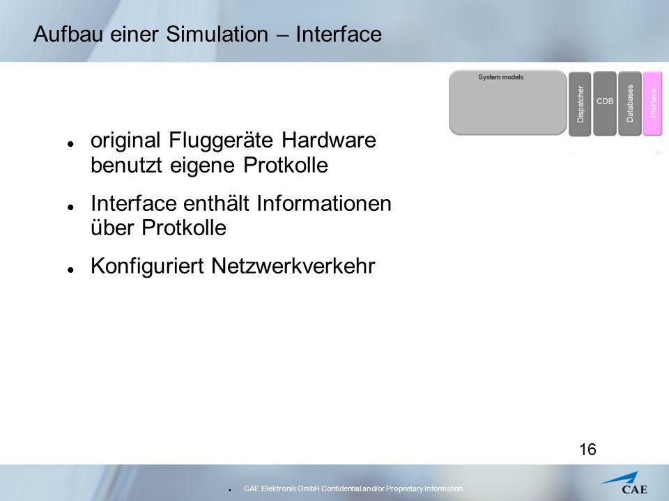 CAE Elektronik GmbH Confidential and/or Proprietary Information 16 Aufbau einer Simulation – Interface original Fluggeräte Hardware benutzt eigene Pro