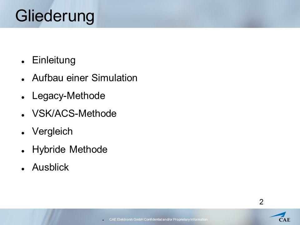 CAE Elektronik GmbH Confidential and/or Proprietary Information 3 Gliederung Einleitung Aufbau einer Simulation Legacy-Methode VSK/ACS-Methode Vergleich Hybride Methode Ausblick