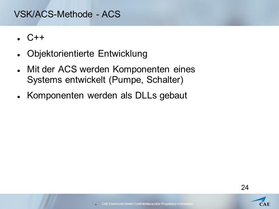 CAE Elektronik GmbH Confidential and/or Proprietary Information 24 VSK/ACS-Methode - ACS C++ Objektorientierte Entwicklung Mit der ACS werden Komponenten eines Systems entwickelt (Pumpe, Schalter) Komponenten werden als DLLs gebaut