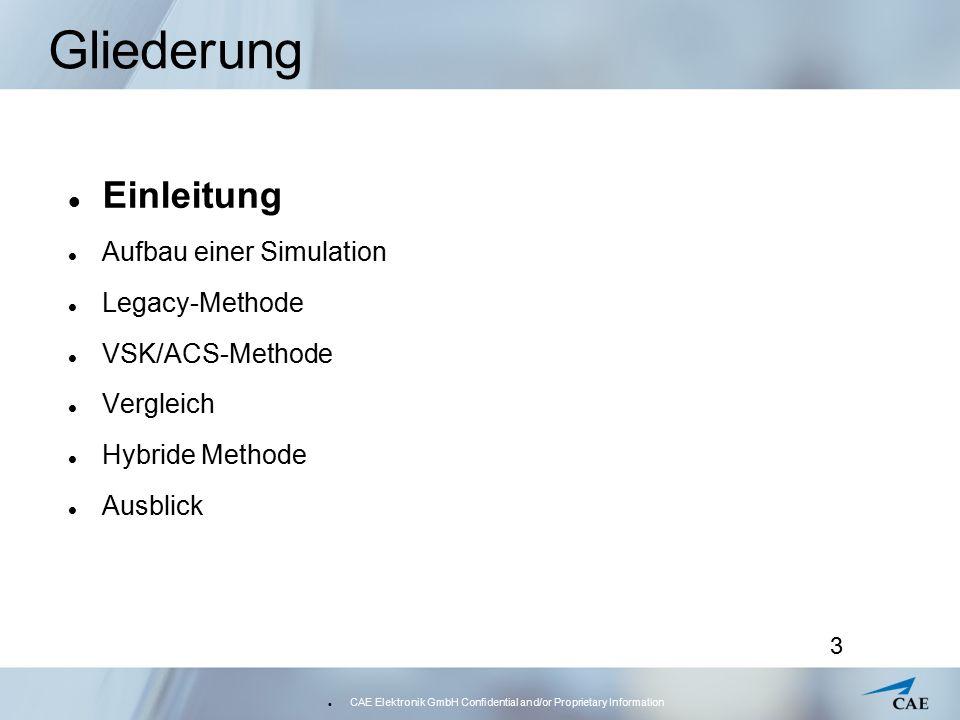 CAE Elektronik GmbH Confidential and/or Proprietary Information 14 Aufbau einer Simulation – Common Database Die Common Database (CDB)  in Blöcke unterteilt  Shared Memory Zur Kommunikation für alle Module in allen Prozessen Module schreiben und lesen Globale Variablen